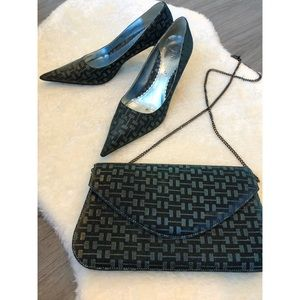 Vintage J.Renee Monochrom Heeled Shoes & Purse Set